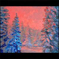 Иван КРУТОЯРОВ. Цветной сон. Зимний пейзаж, необычная живопись, авторская техника, живопись на стекле, экспрессивный импрессионизм, текстурная живопись, фактурная живопись, импасто, современная живопись
