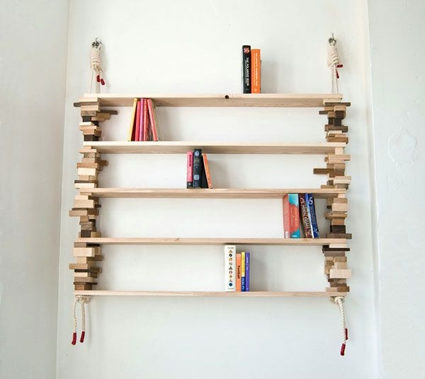 DIY Scrap Wood Bookshelves