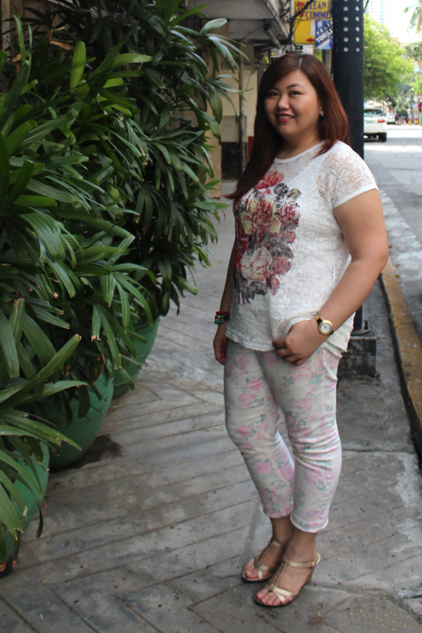 Bangkok See-through White Floral Top, Marks and Spencer Floral Denim, Plus Size Floral Pants