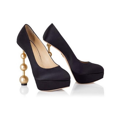 Charlotte Olympia Black pumps with pearls on stiletto heel