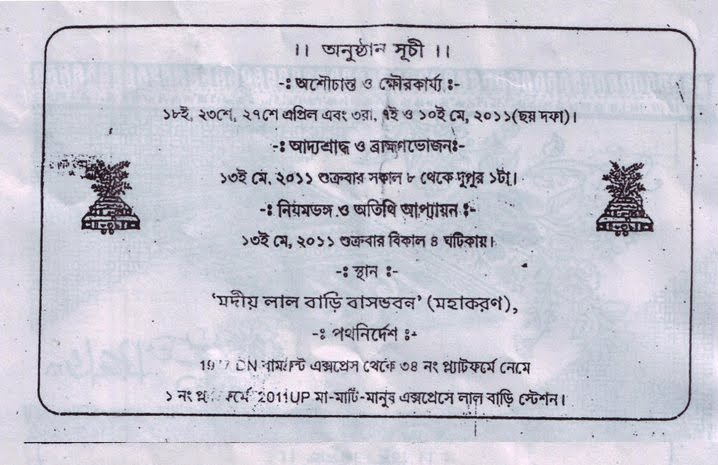 Intrepid writer for those who know bengali shraddha invitation for those who know bengali shraddha invitation stopboris Image collections