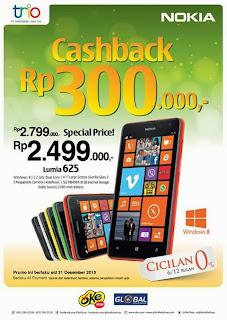 Promo Nokia Lumia 625 Cashback Rp 300.000 (Desember 2013)