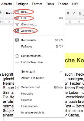 Screenshot der Registerkarte Einfügen innerhalb von Google Docs
