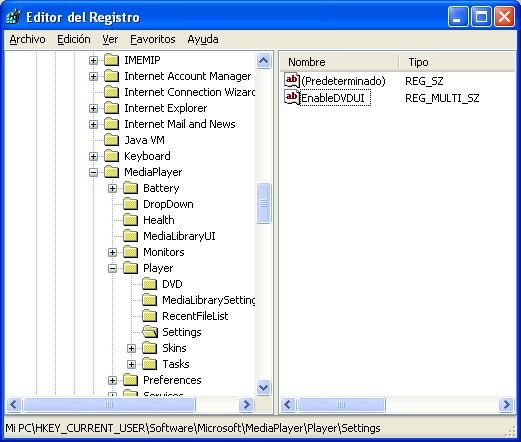 regedit, editor de registro de Windows