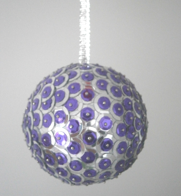 One Plus One Equals Six Sequined Baubles And Flower Bauble