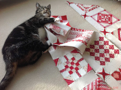 Suzi the cat helps with the Nearly Insane Quilt