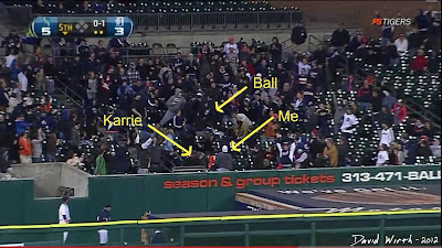left field homerun, detroit tigers, miguel cabrera, catch ball