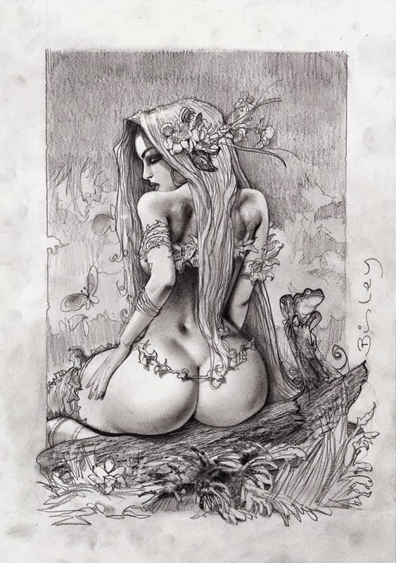 Dessin de Simon Bisley représentant une poison ivy sexy de dos en noir et blanc