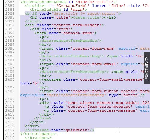 Blogger Template Edit HTML - Delete ContactForm1 Widget Code