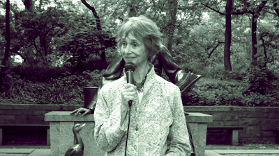 Diane Wolkstein at Central Park (altered by the blogger)