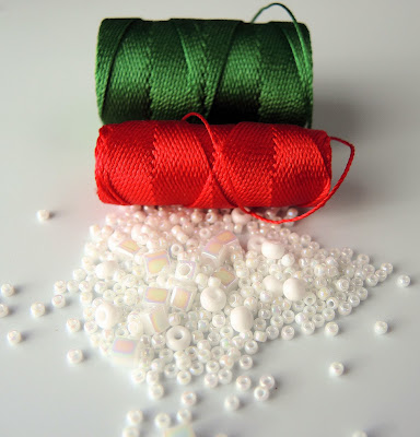 Red and green cord with white seed beads for kits