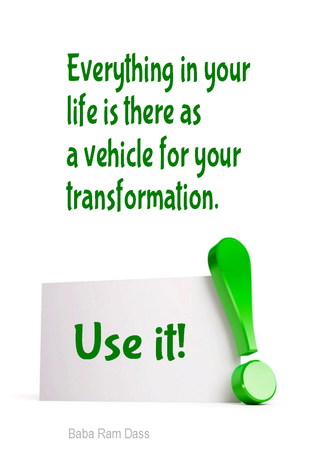 visual quote - image quotation for AWARENESS - Everything in your life is there as a vehicle for your transformation. Use it! - Baba Ram Dass
