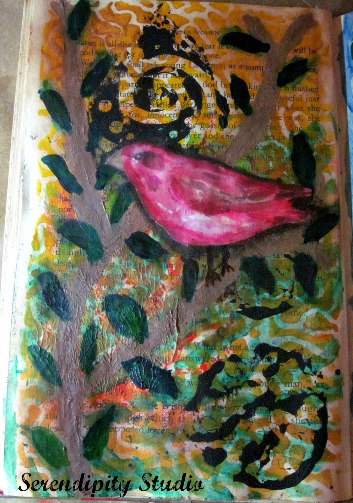 art journal page, bird on tree, crackle paint on tree, media line DecoArt