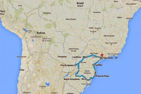 O roteiro inclui Santa Catarina, Rio Grande do Sul e Paraná (foto: Reprodução Google)