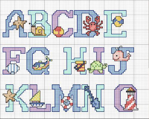Patrones letras infantiles para babis punto de cruz - Imagui