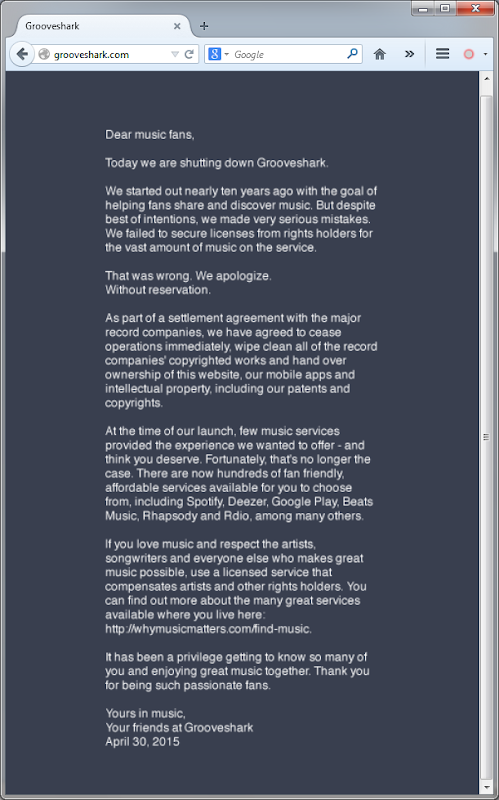 Grooveshark shuts down message 2015