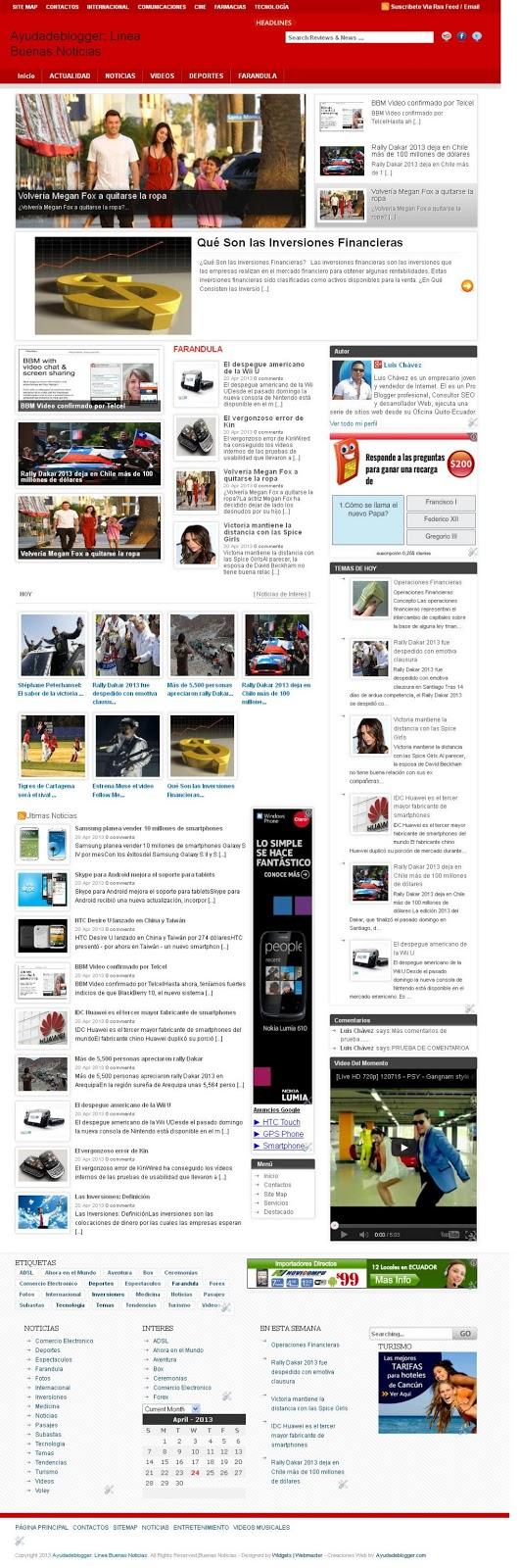 Plantilla para Blogger Línea Buenas Noticias Tutorial Blogger