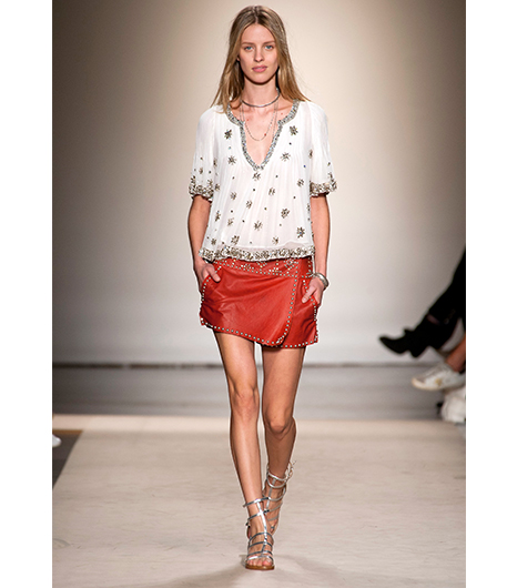 Isabel Marant Spring Summer S/S 2013 Studded Red Leather Skirt Gladiator Sandals