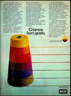 Divisão textil Basf; 1974; moda anos 70.  Os anos 70. propaganda moda decada 70; história da década de 70; reclames anos 70; brazil in the 70s; Oswaldo Hernandez