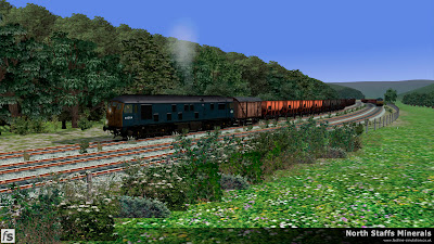 Fastline Simulation - North Staffs Minerals: Class 24 24054 departs Oakamoor with a loaded sand train to Leek Brook. Note the van included in the train to help protect the guard from sand blowing off of the wagons. North Staffs Minerals, a route for RailWorks Train Simulator 2012.