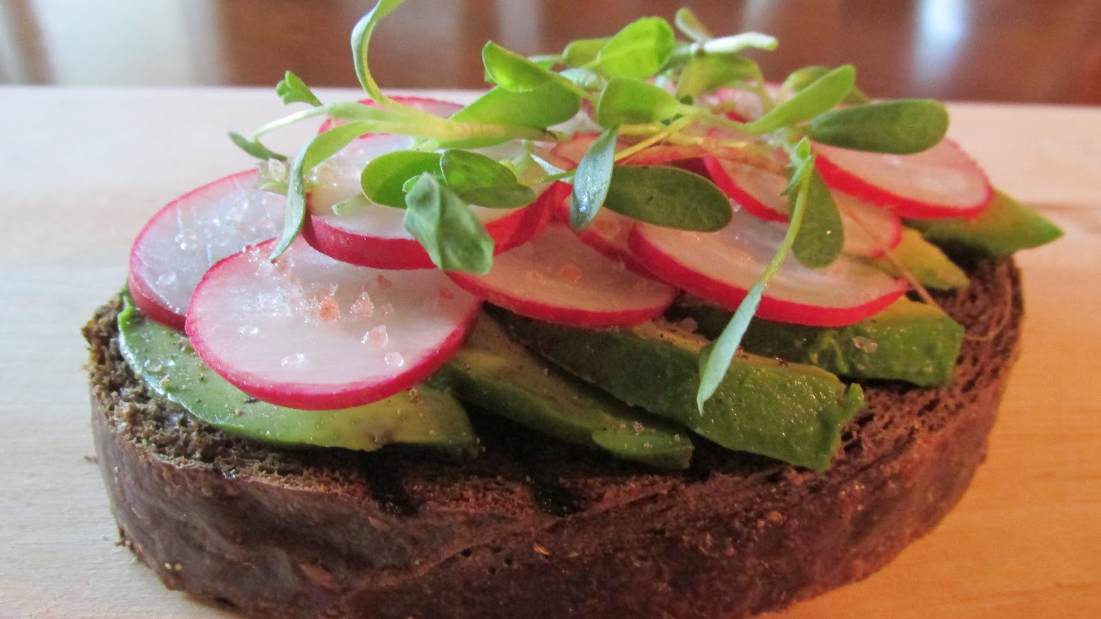 ... : Spring Radish and Avocado Open-Faced Sandwich on Pumpernickel