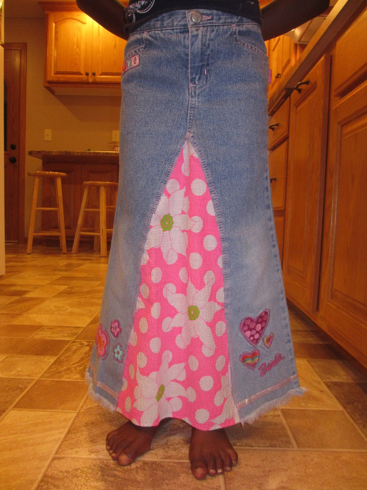 diy denim maxi skirt and laughter in a