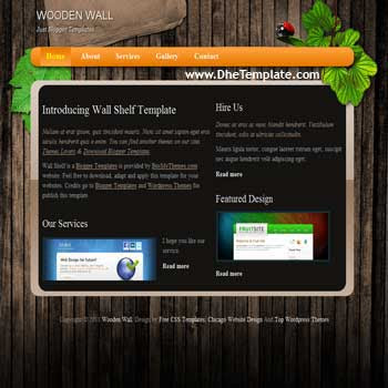Wooden Wall Blogger Template. blogger template for portfolio blog