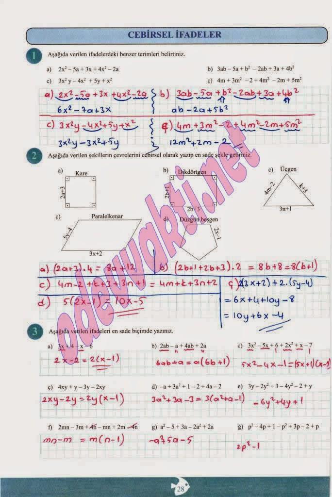 Sınıf Matematik Çalışma Kitabı Cevapları Ada Yayınları