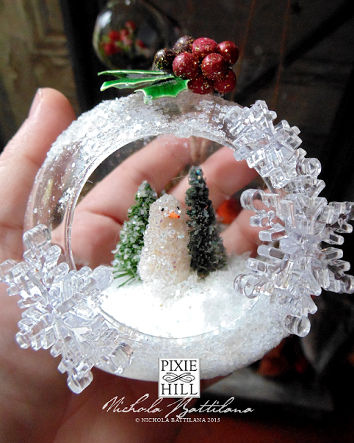 Winter wonderland bauble with handmade snowman - Nichola Battilana