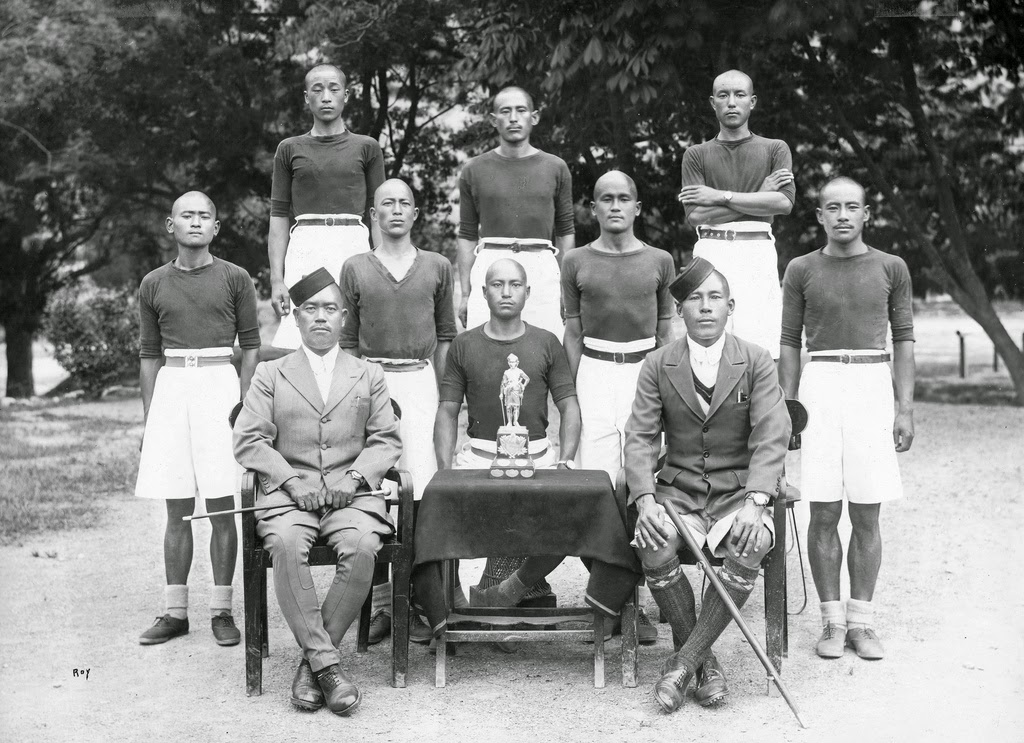 Subedar Kharaksing Gurung and his winning Khud Race runners of the 2nd Battalion 1936-1937