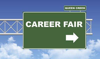 image of a road sign that reads career fair.