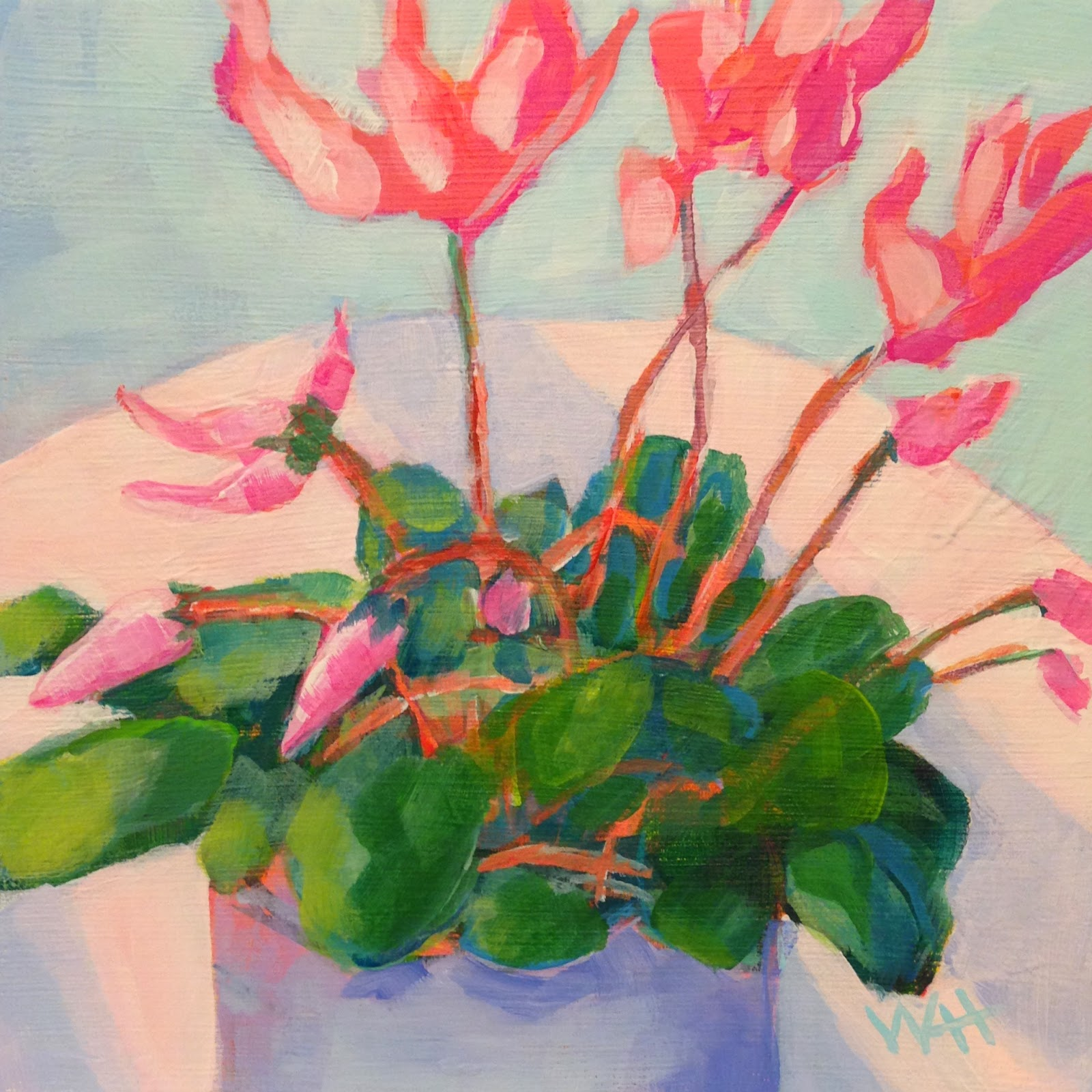 Floral daily painting pink cyclamen