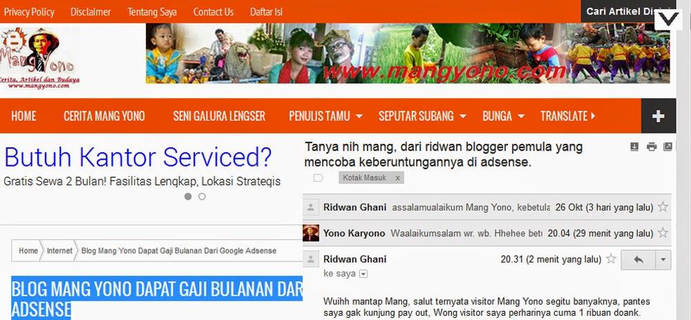 Surat Pembaca : Antara Blog Mang Yono dan Google Adsense