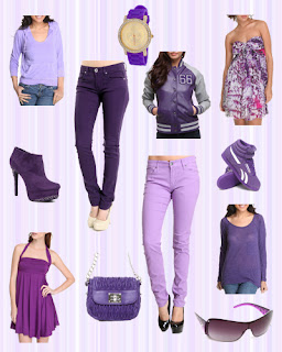 Purple jeans, dresses, tops and accessories