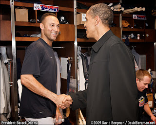 Derek Jetter shakes President Obama's hand at an All Star game