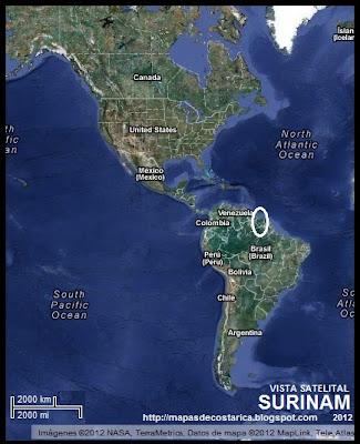 Ubicación de SURINAM en América, Vista Satelital