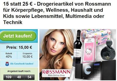 Groupon: 25 Euro Rossmann-Gutschein zum Preis von 15 Euro