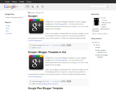 Google Plus Blogger Theme