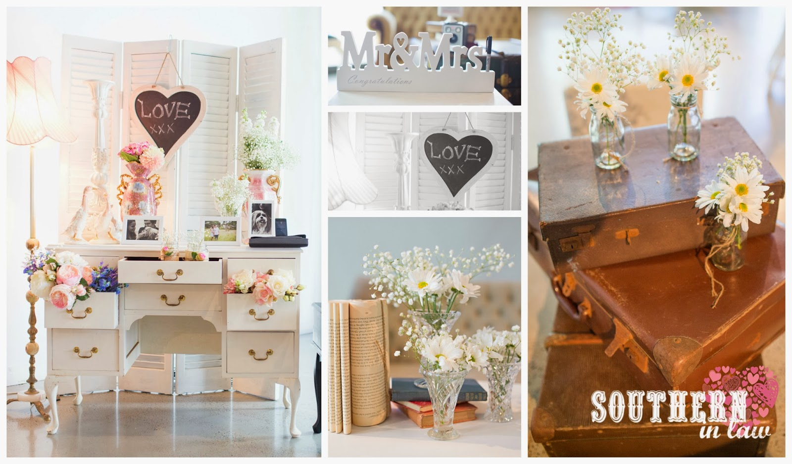 Southern In Law: Wedding: Our Reception Styling - A Rustic, Vintage ...