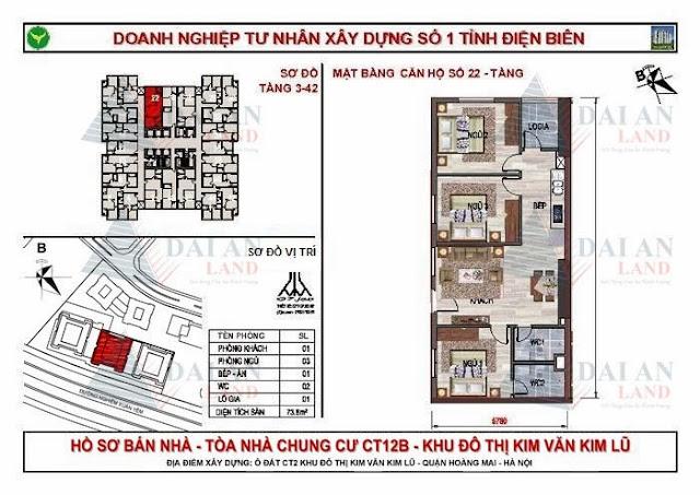 Căn 22 - Tòa CT12B Chung Cư Kim Văn Kim Lũ