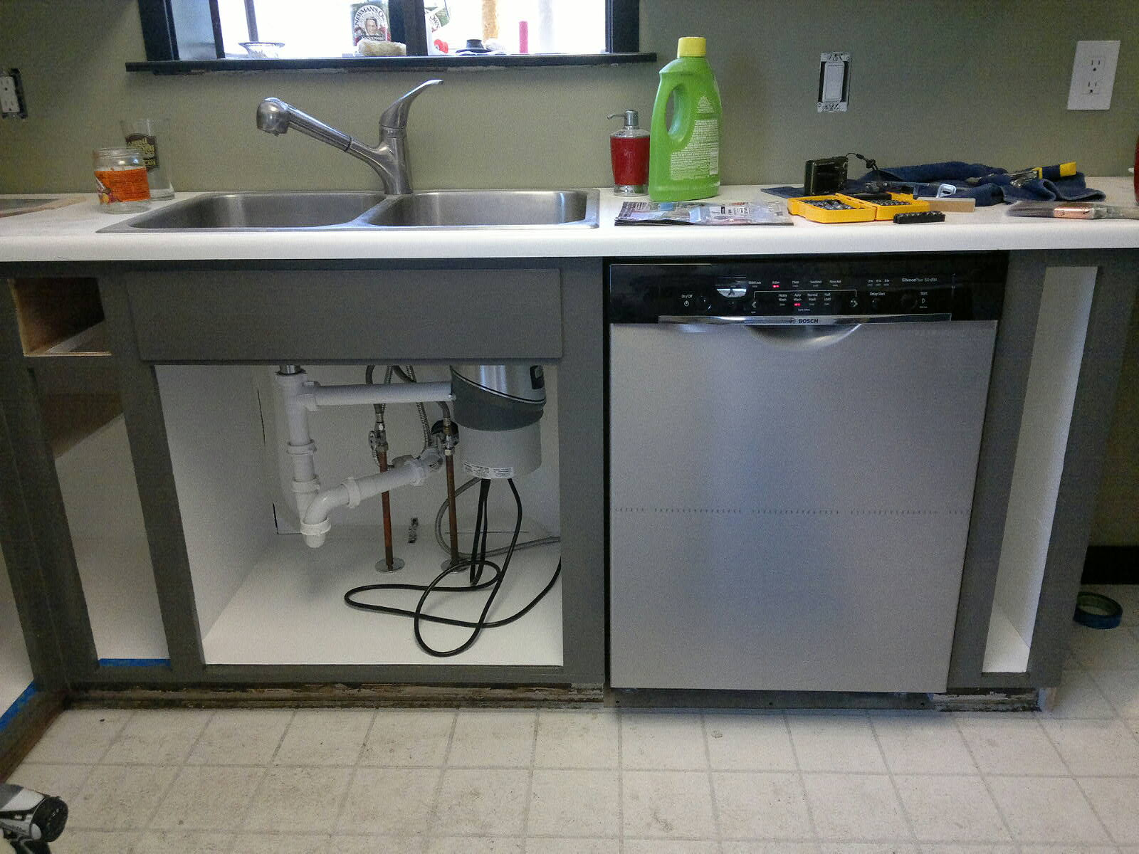 Installing A Full Size Dishwasher In Old Shallow Cabinets