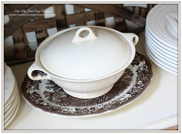 Vintage Ironstone Soup Tureen-- Vintage Pie Safe-From My Front Porch To Yours