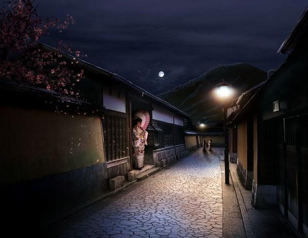 A Sleepy Japanese Village in Photoshop