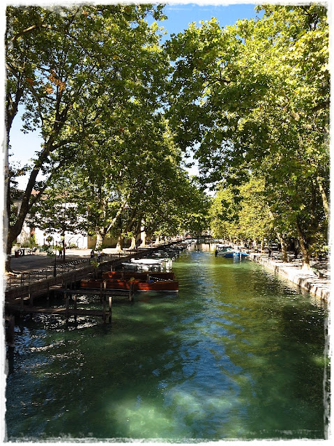 View from the Pont des Amours bridge in Annecy, France.