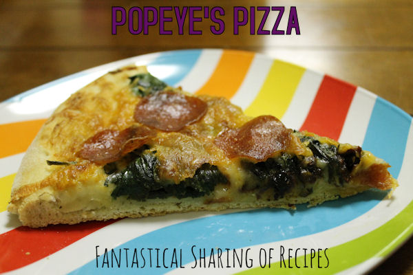 Popeye's Pizza - rich, robust sundried tomato alfredo sauce and spinach make this a fancy one | www.fantasticalsharing.com