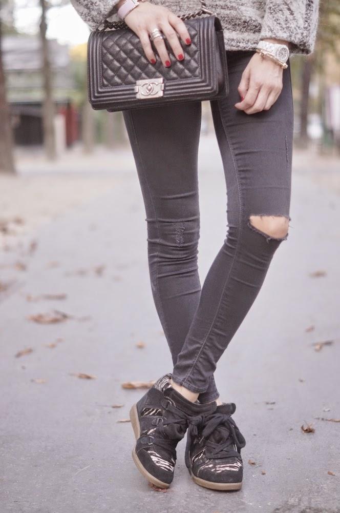 isabel marant, total look, topshop, maison michel, chanel boy, streetstyle, paris, effortless, look du jour, outfit