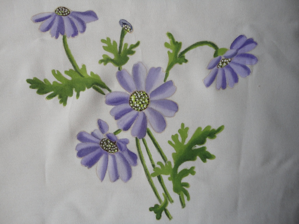 mycreations Painted flowers on fabric