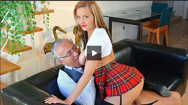 Horny schoolgirl Candy Alexa fucked by old british guy