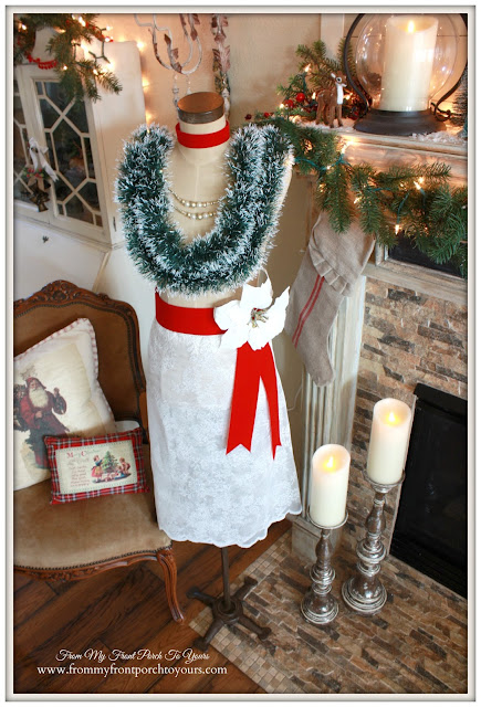 Christmas Dress Form-Vintage-Christmas Garland-Ribbon Sash-Antique Farmhouse Dress Makers Form-From My Front Porch To Yours