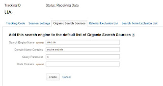 Universal Analytics - Suchmaschinen hinzufügen